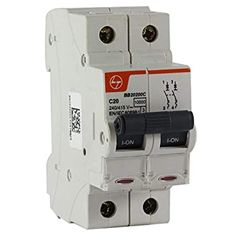 Buy L&T Switchgear Exora 16A MCB 'C' Curve 10kA 2 Pole DP BB20160C Online