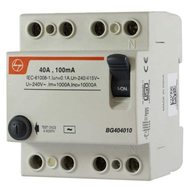Buy L&T Switchgear 63A RCCB 100 mA 4 Pole FP BG406310 Online