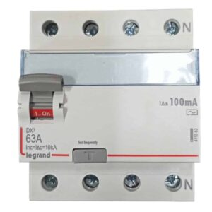 Legrand DX3 63A 4 Pole RCCB Front View100mA AC 4118 83